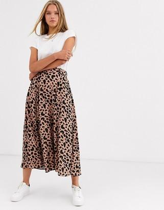 Asos Design DESIGN floaty midi skirt with button waist detail in leopard print-Multi