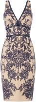 Bardot Deep v neck lace bodycon midi dress