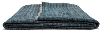 From The Road - Rakta Wool And Cotton-blend Blanket - Denim