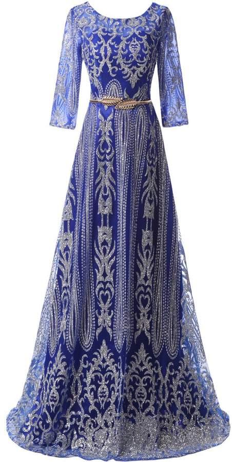 Audrey Bride Cheap Mother of the Bride Dresses Long Sleeves Evening Dress Belt- US