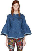 Marques Almeida Blue Denim Hip & Puff Sleeve Jacket