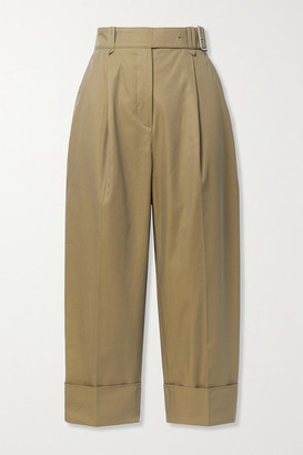 Acne Studios Cropped Belted Pleated Cotton-twill Wide-leg Pants - Beige