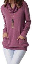 Suvimuga Women Pocket Cowl Neck Long Sleeve Longline Blouse T Shirt XL