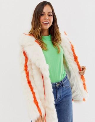 Glamorous faux fur jacket in stripe