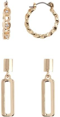 14th & Union Linked Hoop & Linear Drop Earring Set