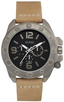 GUESS GUESS? Men's Viper 46mm Brown Leather Band Steel Case Quartz Black Dial Analog Watch W0659G4