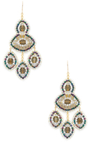 Miguel Ases Triple Marquise Beaded Chandelier Statement Earrings