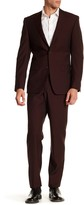 Simon Spurr Red Sharkskin Two Button Notch Lapel Wool Regular Fit Suit