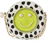 Betsey Johnson Smiley Pearl Polka-Dot Crossbody Bag, Citron