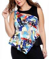 Generic Round Neck Sleeveless Cut Out Graffiti Flounced Plus Size Blouse Tank Top for Women - XXL