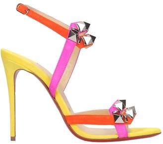Christian Louboutin Galerietta 100 Sandals In Multicolor Suede