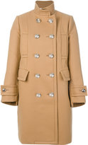 Sacai double breasted pea coat - women - Cupro/Wool - 1