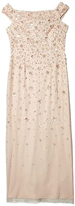 Adrianna Papell Off-the-Shoulder Floral Beaded Gown (Shell) Women's Dress
