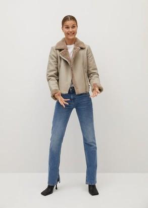 MANGO Faux fur biker jacket light/pastel grey - XS - Women