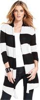 INC International Concepts Sweater, Long-Sleeve Striped Draped Cardigan