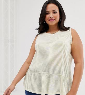 Asos DESIGN Curve sleeveless smock top in washed stripe-Brown