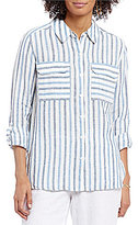Vince Camuto Two by Point Collar Roll-Tab Sleeve Striped Linen Shirt