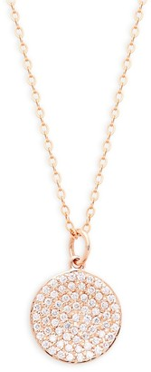 Nephora 14K Rose Gold Pave Disc Pendant Necklace