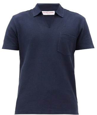 Orlebar Brown Lincoln Open-collar Cotton Polo Shirt - Navy