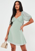 Missguided Mint Dobby Milkmaid Skater Dress