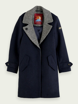Scotch & Soda Long coat with checked collar detail | Girls