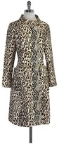 Tracy Reese Tan & Brown Silk Blend Animal Print Coat