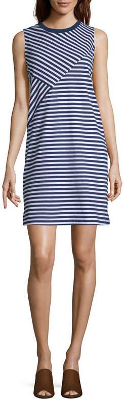 Liz Claiborne Sleeveless Stripe Mix Dress - Tall
