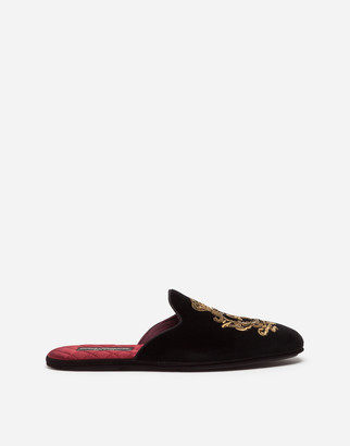 Dolce & Gabbana Velvet Slippers With Coat Of Arms Embroidery