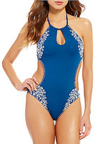 Lucky Brand Stitch In Time High Neck Keyhole Monokini One-Piece