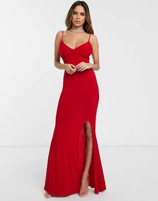 Club L London cami strap maxi dress with thigh split-Red
