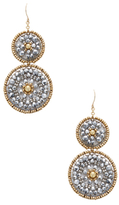 Miguel Ases Beaded Double Disc Statement Earrings