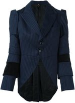 Comme des Garcons pinstripe long tail blazer - women - Cotton/Cupro/Wool - M