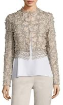 Elie Tahari Leanne Embroidered Cropped Jacke