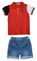 Ladouby Boys' Girls'short sleeve polo Shirt and Stretch Denim Short Set 3-8 year