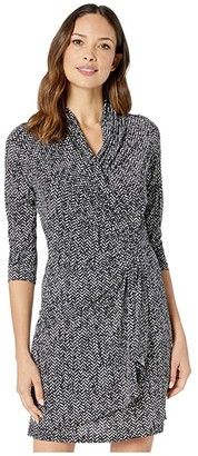 Karen Kane 3/4 Sleeve Cascade Wrap Dress (Print) Women's Clothing
