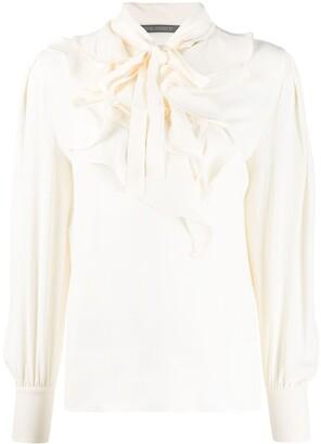 Alberta Ferretti Long-Sleeved Ruffled Collar Blouse