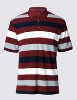 Marks and Spencer Pure Cotton Block Striped Polo Shirt