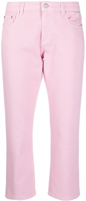 MSGM Mid-Rise Logo-Print Straight-Leg Jeans