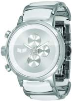 Vestal Men's METCA03 Metronome Polished Silver with White Acetate Chronograph Watch