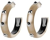 Alexis Bittar Future Antiquity Hexagon-Studded Lucite Hoop Earrings