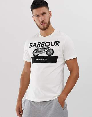Barbour International Rider large logo t-shirt in off white