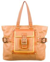 Tory Burch Buckle Accented Leather Tote