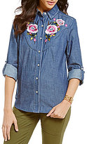 Chelsea & Violet Long Roll-Tab Sleeve Embroidered Chambray Top