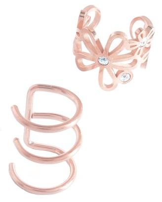Sterling Forever 14K Rose Gold Vermeil Bezel Set Cubic Zirconia Flower & Multi-Row Mismatched Ear Cuff Set - Set of 2