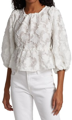 Free People Callie Puff-Sleeve Applique Top