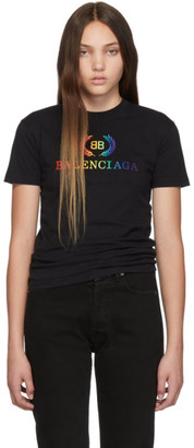 Balenciaga Black Rainbow BB Fitted T-Shirt