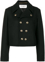 Saint Laurent short peacoat jacket - women - Cotton/Virgin Wool - 36