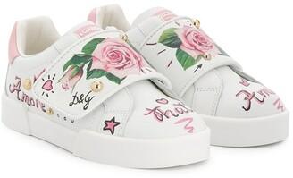 Dolce & Gabbana Rose Print Sneakers