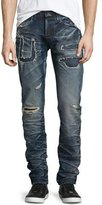 PRPS Demon Rip Repair Distressed Denim Jeans, Blue