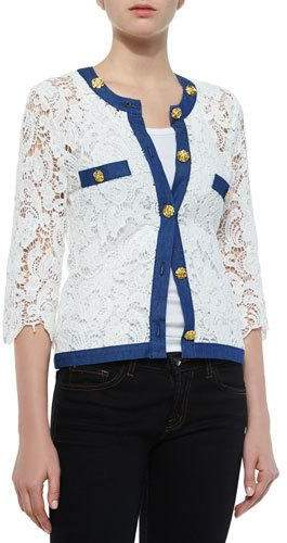 Michael Simon 3/4-Sleeve Crochet Cardigan W/ Denim Trim